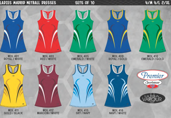 Premier Madrid Netball Dresses Youth